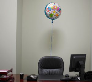 desk with balloon